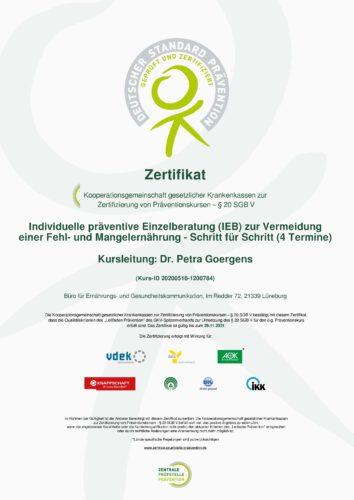 Ernährungsberatung Zertifikat