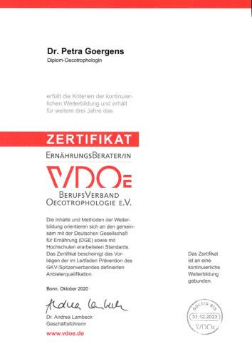 VDOE Zertifikat